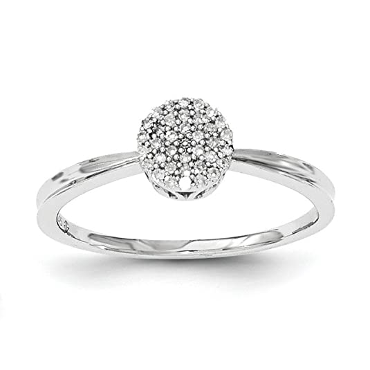 Sterling Silver Polished Round Diamond Ring - Ring Size Options Range: N to P