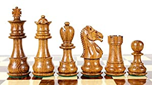 "House of Chess - Golden Rosewood/Boxwood Chess Pieces Galaxy Staunton 3"" (76 mm) 2 Extra Queens - Triple Weighted"