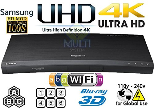 SONY UHP-H1 2K/4K Upscaling - 2D/3D - Wi-Fi 2.4/5.0 Ghz - Clear Audio - Multi System Region Free Blu Ray Disc DVD Player - PAL/NTSC - USB - 100-240V 50/60Hz for World-Wide Use & 6 Feet HDMI Cable
