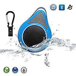 Bluetooth Speaker, Waterproof Wireless Bluetooth Shower Speaker Outdoor Portable 3.0 Mini Speaker with Carabiner Showers,Bathroom, Pool, Boat, Car, Beach, and Outdoor Use Handsfree Mic for Iphone 4/4s,Iphone5/5s,Ipad,Ipod,Itouch,NexusSamsung Galaxy(blue)