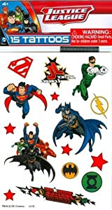 05lp DC Comics Justice League party pack for 16, plates, napkins, cups, tattoos
