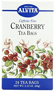 Alvita Tea Bags, Cranberry, Caffeine Free, 24 teas bags,  2.12 Ounce (Pack of 3)