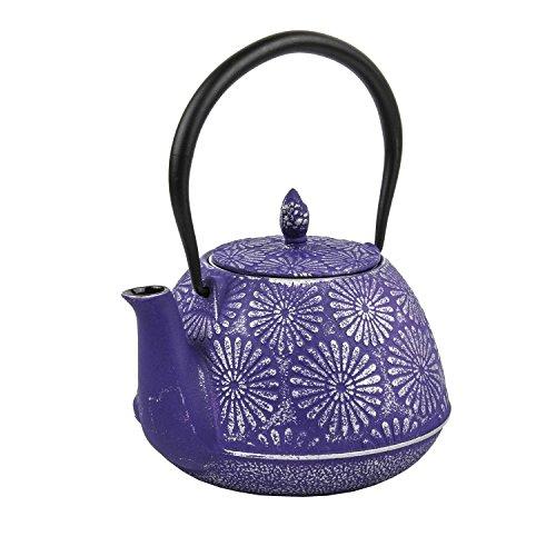 Spigo Nagano Cast Iron Enamel With Stainless Steel Infuser Teapot, Purple, 40 Ounces (Tea Infuser Pot Cast Iron compare prices)