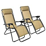 Best ChoiceProducts Zero Gravity Chairs Tan Lounge Patio Chairs Outdoor Yard Beach New (Set of 2)