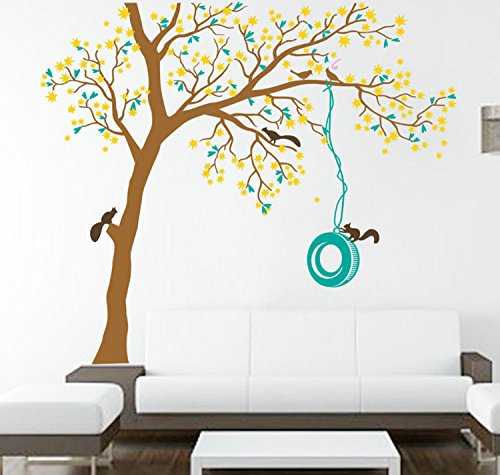 """Yanqiao 47.255.1""""Cartoon Squirrel Tree Wall Sticker Decor Children Room Removable Wall Decals Wall Art,Brown+Yellow+Blue"""