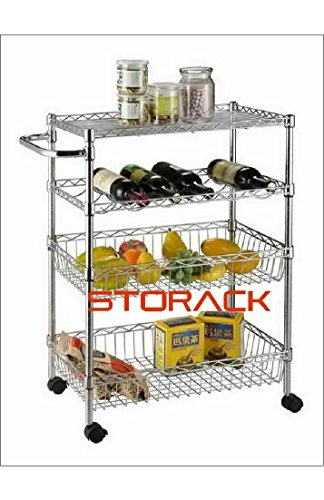 Storack 4 Tier Rolling Cart, Chrome