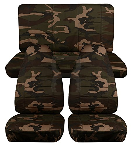 Front and Rear Solid Camouflage Seat Covers for a 2013 to 2015 Jeep Wrangler 2 Door Front and Rear Separate Headrest Covers (Army Camouflage) (Jeep Jk Seat Covers Camo compare prices)