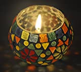 Decorative Handcrafted Glass Candle Holder For Room Décor 3 Inch Multi Color
