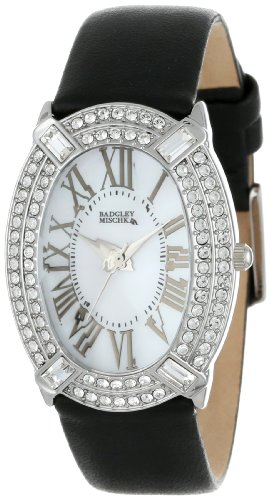 badgley-mischka-womens-ba-1225wmbk-swarovski-crystal-accented-silver-tone-black-leather-strap-watch