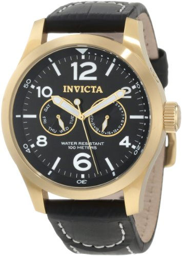 Invicta Men's 10491 Specialty Military Black Dial Black Leather Watch