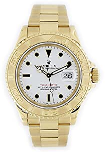 Pre-owned Rolex Yacht-Master Mens Yellow Gold Date Display Watch - 16628