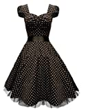 Rockabilly kleid petticoat kleid Neckholder kleid Abendkleid Cocktail Kleid Abiballkleid Brautjungfernkleid Schwarz Gr.3