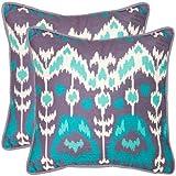 Safavieh Pillows Collection Manhattan Decorative Pillow, 20-Inch, Aqua and Cream, Set of 2