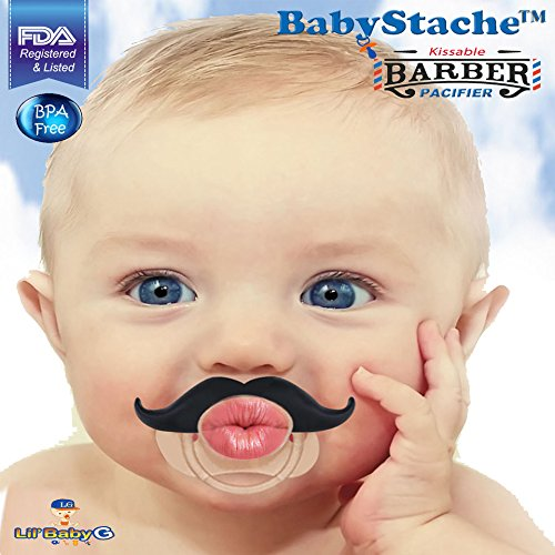BabyStache Kissable Baby Pacifier Cute and Funny Mustache Pacifiers for Babies BPA Free, Latex Free, High Grade Silicone for Newborns Infants and Toddlers, Barber Black
