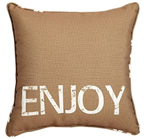 Enjoy Burlap Decorative Pillow by Evergreen Enterprises