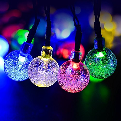 Dephen Globe Solar String Lights, 19.7 ft 30 LED Crystal Ball String Lights Solar Powered Waterproof Fairy Christmas String Lights for Outdoor Garden, Yard, Patio, Party, Home Decoration(Multicolour)