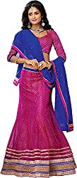 Shyam Fab Women's Brocade & Georgette Lehenga Choli (QU5956-B, Pink)