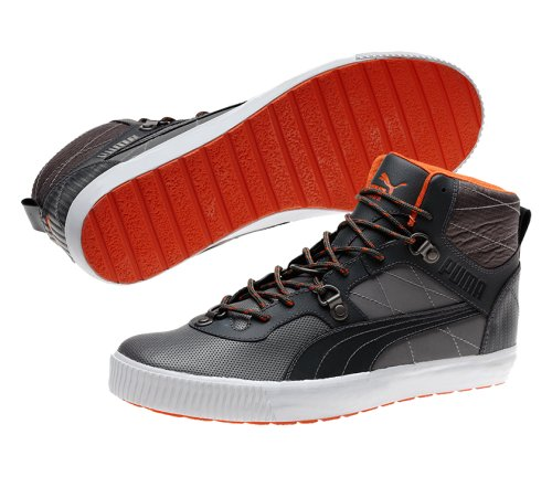 PUMA Men's Tipton L Lux Casual Shoes,Steel Grey/Dark Shadow/Red Orange,13 D US