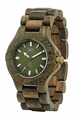 WEWOOD ARMY WOODEN CLOCK ARGENTINO TENDING DATES GREEN BROWN