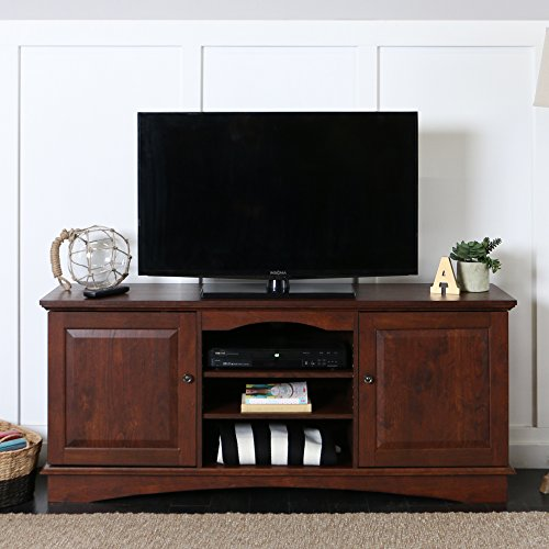 Walker Edison 60-Inch Wood TV Stand Console with Media Storage, Traditional Brown