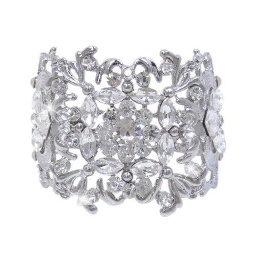 EVER-FAITH-Silver-Tone-Bridal-Art-Deco-Leaf-Clear-Austrian-Crystal-Bracelet