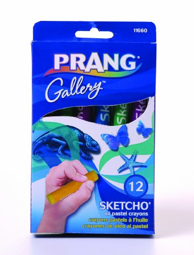 Prang Sketcho Oil Crayons, Round Sticks, 2.5 x 0.5 Inches, 12-Color Set (11660)