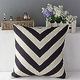 Vintage Black White Geometric Throw Pillow Case Cotton Linen Sofa Car Cushion Cover