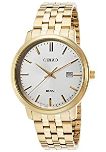 Men's Gold-Tone Stainless Steel Silver-Tone Dial Gold-Tone Indices