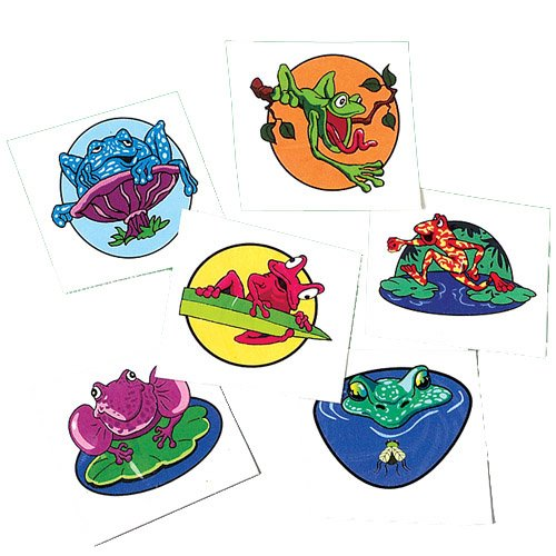 Set Of 144 Assorted Frog Theme Temporary Tattoos - 1