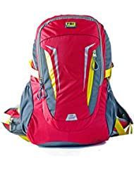 FBI Bagme 30 Ltr Capacity Nylon Red Yellow Hiking Backpack With Removable Ventilation Back Frame System To Relieve...