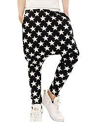 Men Elastic Waist Loose Star Patterns Tight Cuffs Harem Pants
