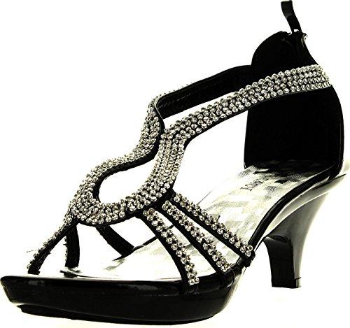 Delicacy Angel 36 Women Dress Sandals Rhinestone Platform Pumps Wedding Bridal Low Heel Shoes,Black,6