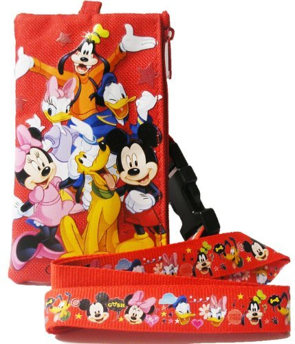 1 X Disney Mickey Mouse and Friends Long Red Lanyard with Coin Purse - 1
