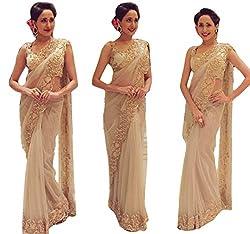 Astha bridal women net saree(A.R saree_cream_42)