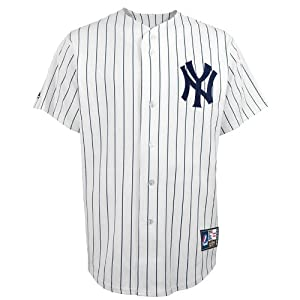 MLB Mickey Mantle #7 Yankees Cooperstown Replica Jersey, White Navy by Majestic