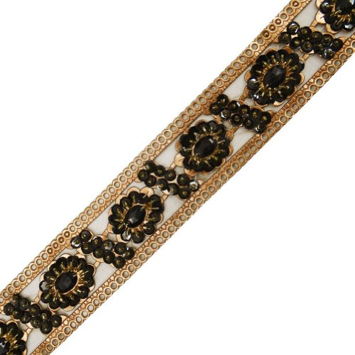 Bronze Artificial Leather Trim Light Gold Beaded Black Sequin Sewing Lace India 1 Yd