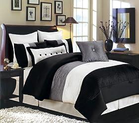 Valentino 8 Piece Oversized Comforter Set, Black / Grey / White