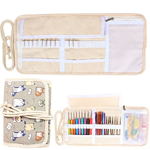 Damero New Canvas Crochet Hooks Wrap Knitting/Crochet Accessories Pouch Craft Tools Organizer Bag, Cartoon Cats--(Not Accessories Included) (Knitting Accessories Organizer compare prices)