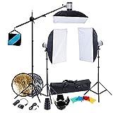 Kit complet d'éclairage professionnel Photo studio avec 3 Softbox 50x70, 3 trépieds (1 Girafe), réflecteur , sac de transport & accessoires