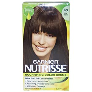 Garnier Nutrisse Permanent Creme Haircolor, #40 Dark Brown,1 ea