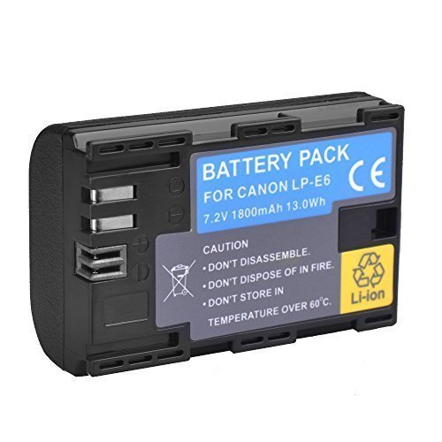 LP-E6 Battery for Canon EOS 6D 7D 80D 70D 60D Mark III & Mark II Digital SLR and DSLR Cannon Cameras BG-E14 BG-E13 BG-E11 BG-E9 BG-E7 BG-E6 Grips charger LC-E6  available at amazon for Rs.2049