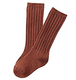 Lian LifeStyle Children 4 Pairs Knee High Wool Socks Size 4-6Y(Brown)