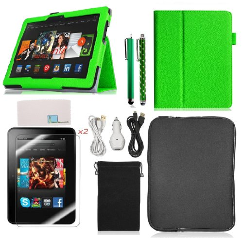 Llamamia Kindle Accessories Bundle - Stand Folio Leather Case Cove Skin + Car Charger + 2 Cables(6 Feet) + Sleeve Pouch Bag + 2 Screen Protectors + 2 Stylus Pens (Green, Kindle Fire HDX 8.9 (2013 Rele