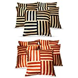 Cross Patti Cushion Covers Combo Black,Beige/Red,Beige 40 X 40 Cms(10 Pcs Set)