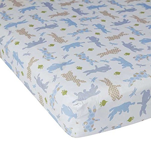 Lambs & Ivy Peter Rabbit Fitted Crib Sheet простынь swaddledesigns fitted crib sheet turquoise stripe