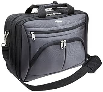 "Samsonite Triple Gusset 17"" Laptop iPad/Tablet Briefcase - Black & Grey"