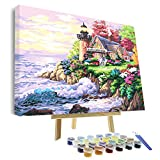 VIGEIYA DIY Paint by Numbers for Adults Include Framed Canvas and Wooden Easel with Brushes and Acrylic Pigment 15.7x19.6inch (Color: house by the sea, Tamaño: 15.7*19.6in)
