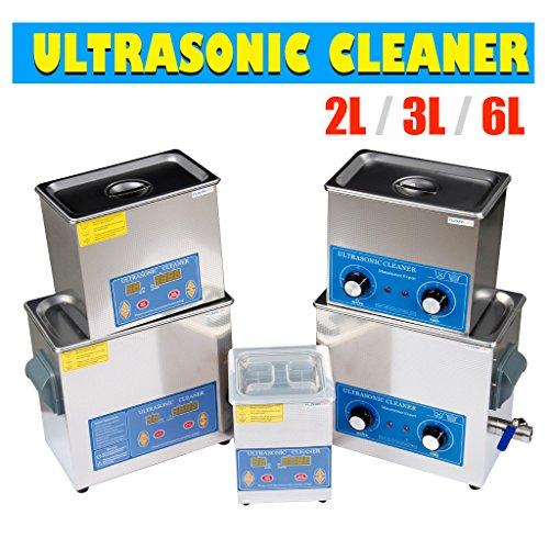 FLOUREON®Digital Bildschrim Ultraschallreiniger Ultraschallbad Ultraschallgerät Reinigungsgerät Cleaner Edelstahltank mit Korb (2L)