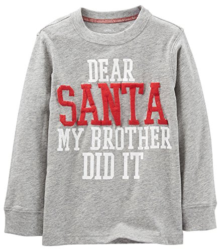 Carter'S Little Boys' Dear Santa Tee (Toddler/Kid) - Heather - 2T front-157729