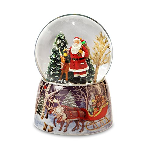 Santa and Reindeer Christmas Snow Globe San Francisco Music Box Company